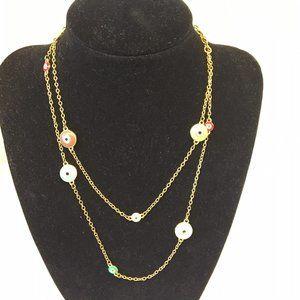 Joan Rivers Nazar Evil Eye bead necklace gold tone
